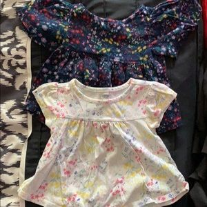 Two Old Navy baby girl tops 12-18 months